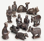 Blackened Ceramic Nativity Scene  Cameroon, 11 Piece set, Africa