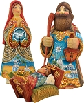 Folk Nativity Holy Family Set of 3  Hand Molded, Hand Painted   Limited Edition   Russia