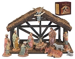 12 Piece Nativity Set with Wood Stable  Hand Painted Polymer, Wood  DiGiovanni