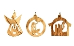 Olivewood Nativity Ornaments, West Bank