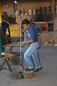glass blower in action from mexico