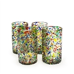 Set of 4 Tumbler Glasses<br>16 oz. Speckled Confetti<br>Hand blown from Mexico