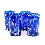 Set of 4 Tumbler Glasses<br>16 oz. Cobalt & White Splash<br>Hand blown from Mexico