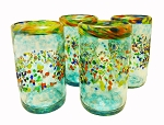 Set of 4 Tumbler Glasses 16 oz.<br>Confetti Rim with Turquoise Splash and Confetti<br>Hand blown from Mexico