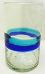 Tumbler Glass 16 oz.<br>Turquoise and Cobalt Blue Band<br>Hand blown glass from Mexico