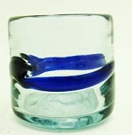Small Sipping Glass, 3.5 oz.<br>Cobalt Banded<br>Hand blown glass from Mexico