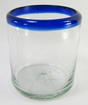 Sipping Glass, 6 oz. Cobalt Rim<br>Hand blown glass from Mexico