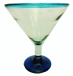 Grande Martini / Margarita Glass<br>26 oz. Turquoise Rim<br>Hand blown glass from Mexico