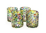 Set of 4 Rocks Glasses<br>12 oz. Confetti Speckled<br>Hand blown from Mexico