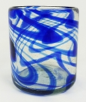 All Purpose Rocks Glass, 12 oz. Cobalt Swirl<br>Hand blown glass from Mexico