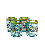 Set of 4 Rocks Glasses<br>12 oz. Confetti Rim with Turquoise Splash and Confetti<br>Hand blown from Mexico