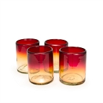 Set of 4 Rocks Glasses<br>12 oz. Red Sunset<br>Hand blown from Mexico