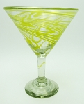 Classic Martini / Margarita Glass<br>15 oz. Yellow Swirl<br>Hand blown glass from Mexico