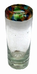 Shot Glass, 2 oz. Confetti Rim<br>Hand blown glass from Mexico