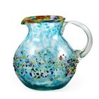 Bola Pitcher, 80 oz. Turquoise Splash with Confetti<br>Hand blown glass from Mexico