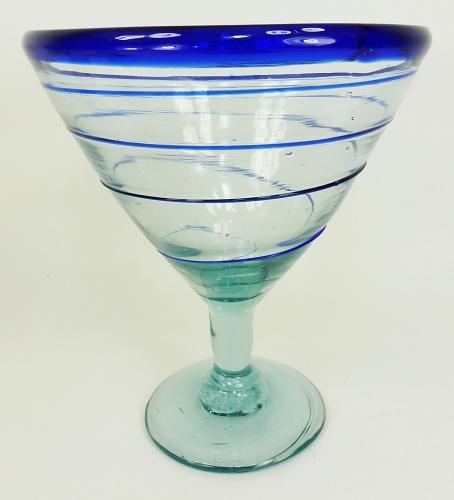 cobalt blue whirl hand blown 12 ounce martini    margarita