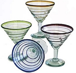 Martini / Margarita Set of 4 - 12 oz. 1 of each<br>Green, Red, Cobalt & Amber Whirl<br>Hand blown glass from Mexico