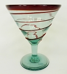 Martini / Margarita Glass, 12 oz. Red Whirl<br>Hand blown glass from Mexico
