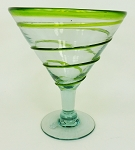 Martini / Margarita Glass, 12 oz. Green Whirl<br>Hand blown glass from Mexico