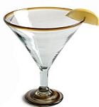 Jumbo Martini / Margarita Glass<br>32 oz. Amber Rim<br>Hand blown glass from Mexico