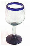 All Purpose Wine Glass, 10 oz. Cobalt Blue Rim<br>Hand blown glass from Mexico