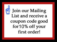 Join 1our mailing list to receive 10% off your first order! Join above.