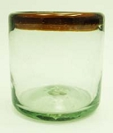 Double Old Fashion Rocks Glass<br>14 oz. Amber Rim<br>Hand blown glass from Mexico