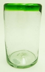 Tumbler Glass, 16 oz. Green Rim<br>Hand blown glass from Mexico