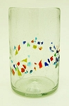 Tumbler Glass, 16 oz. Tutti Frutti Speckled Band<br>Hand blown glass from Mexico