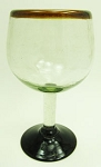 Large Balloon Wine Glass, 16 oz. Amber Rim<br>Hand blown glass from Mexico