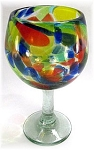 Large Balloon Wine Glass, 16 oz. Solid Confetti<br>Hand blown glass from Mexico