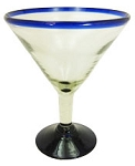 Grande Martini / Margarita Glass<br>26 oz. Cobalt Rim<br>Hand blown glass from Mexico