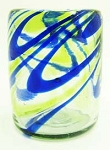 All Purpose Rocks Glass, 12 oz. Cobalt Swirl & Green Swirl, Hand blown glass from Mexico