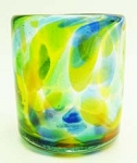 All Purpose Rocks Glass, 12 oz. Solid Confetti<br>Hand blown glass from Mexico