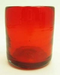 All Purpose Rocks Glass, 12 oz. Solid Red<br>Hand blown glass from Mexico