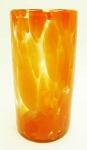 Perfecto Tumbler Glass, 16 oz. Orange Splash<br>Hand blown glass from Mexico