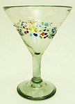 Classic Martini / Margarita Glass<br>15 oz. Tutti Frutti Speckled Band<br>Hand blown glass from Mexico