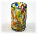Short Shot Glass, 1.5 oz. Solid Confetti<br>Hand blown glass from Mexico