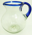 Bola Pitcher, 80 oz. Cobalt Rim & Handle<br>Hand blown glass from Mexico
