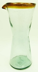 Wine Decanter - Carafe, 1 Liter Amber Rim<br>Hand blown glass from Mexico