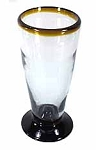 Short Pilsner-Beer Glass, 16 oz. Amber Rim<br>Hand blown glass from Mexico