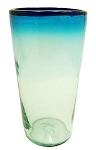 Tapered Tall Ice Tea Glass, 22 oz. Cobalt Rim<br>Solid Turquoise & Clear glass<br>Hand blown glass from Mexico (Tapered)