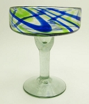 Margarita Glass, 12 oz. Cobalt & Green Swirl<br>Hand blown glass from Mexico