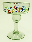 Margarita Glass, 12 oz. Speckled Tutti Frutti Band<br>Hand blown glass from Mexico