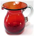Table Pitcher, 48 oz. Solid Red<br>Hand blown glass from Mexico