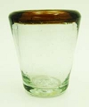 Tapered Shot Glass, 2.5 oz. Amber Rim<br>Hand blown glass from Mexico
