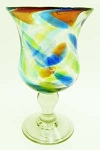 Goblet-Hurricane Glass, 10 oz. Solid Confetti<br>Hand blown glass from Mexico