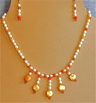 A+ Mexican Fire Opals, Pearls & Swarovski Crystals Necklace and/or Matching Earrings