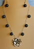 Unique Bali Sterling Silver pendant & Black Lava beads Necklace