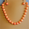 Pumpkin Pearls, hand-tied Necklace and/or Matching Earrings
